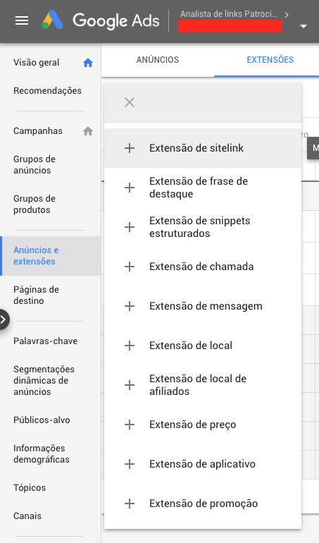 Extensões do Google Ads
