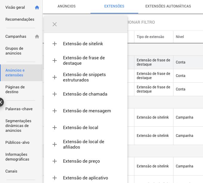 extensões de google ads