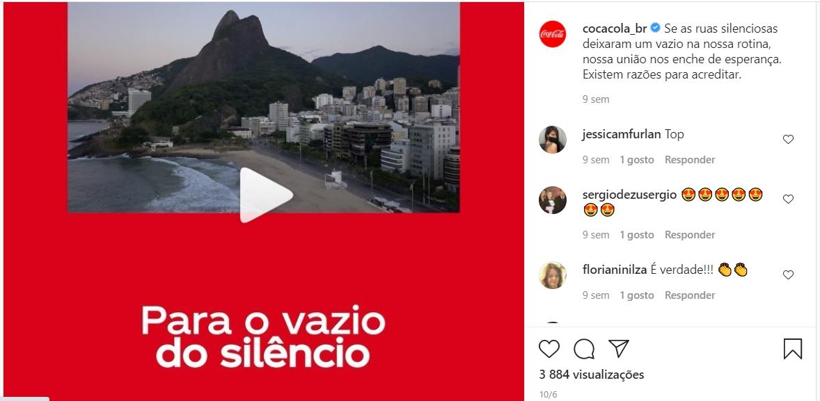 Postura dos usuários no Instagram - exemplo Coca-Cola