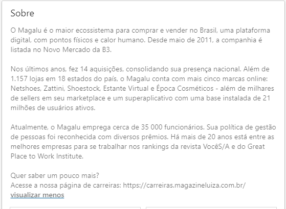 Texto-de-apresentação-da-empresa-Magalu-LinkedIn