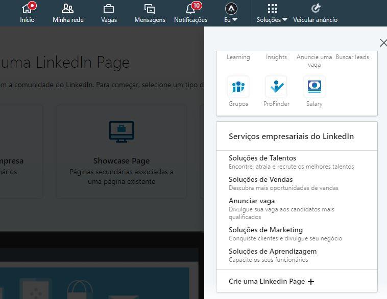 Como criar LinkedIn Page - passo 1