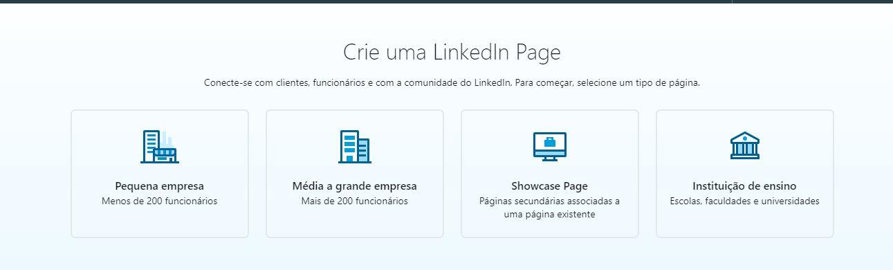 Como criar LinkedIn Page - passo 2