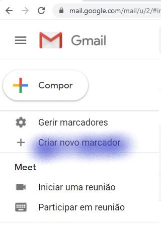 Criar novo marcador - gmail