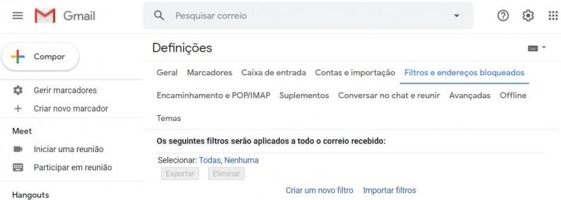 Exemplo - adicionar filtro Gmail
