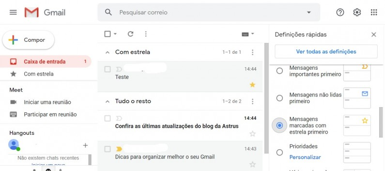 Exemplo caixa de entrada com estrela primeiro - Gmail