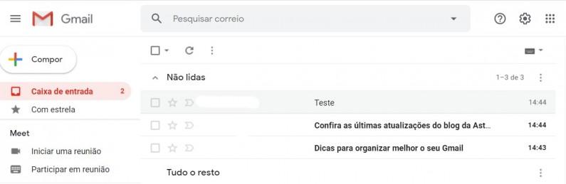 Exemplo caixa de entrada padrão - Gmail