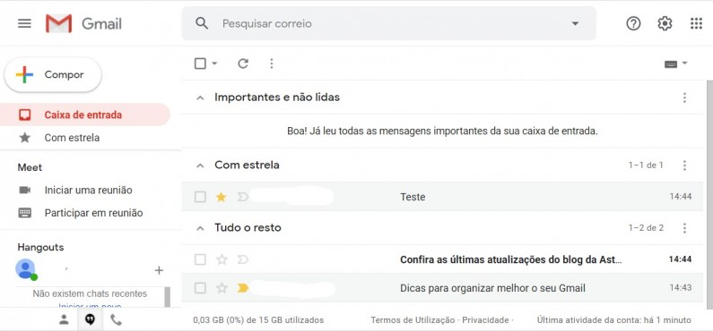 Exemplo caixa de entrada várias caixas de entrada - Gmail
