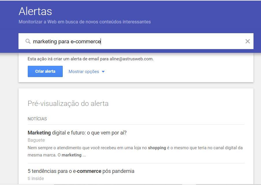 google alerts - curadoria de conteúdo